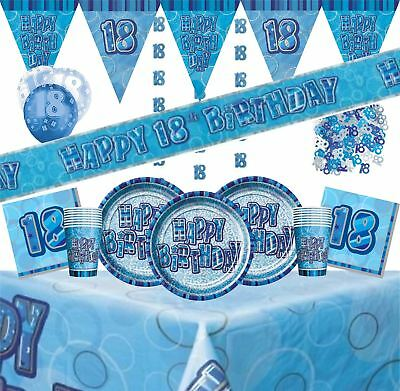 Blue Glitz Age 18 Party Decorations Silver Tableware Balloons Bunting