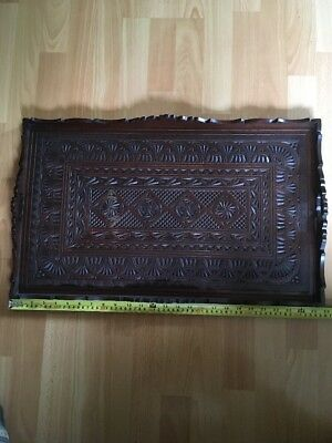 Antique Indian Wooden Carved Tray