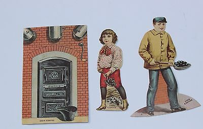 Vintage LION COFFEE PAPER DOLL Ad Trade Card 3 Pieces From FURNACE ROOM #8
