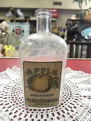 NC Whiskey WW Cooper Marion NC Apple Brandy Cork Top Bottle NR