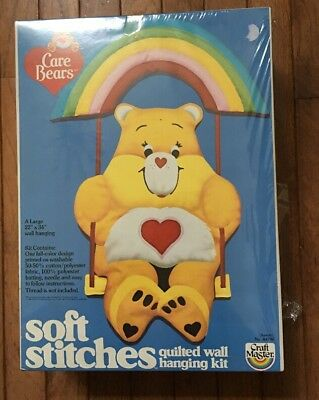 Vintage Yellow Care Bears Soft Stitches Quilted Wall Hanging 1984 SEALED!