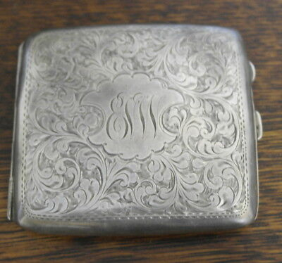 antique stering silver hallmarked birmingham 1921 CIGARETTE CASE