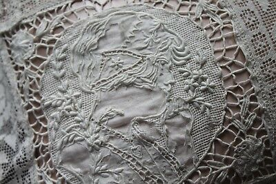 Vtg Antique Appenzell Lace Pillow Figural Needlelace Satin Insert French Boudoir