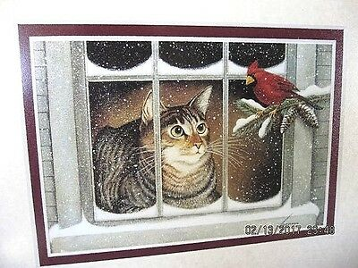 "Cat & Cardinal Framed Print - Winter - 8"" X 10"" EXC."