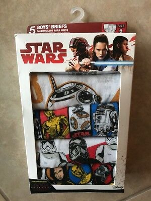 Star Wars Boys Briefs Size 6 Pack Of 5 New