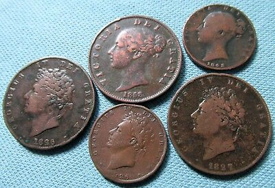 Lot of 5 1800s George IV & Queen Victoria Halfpenny & Farthing Old Copper Coins