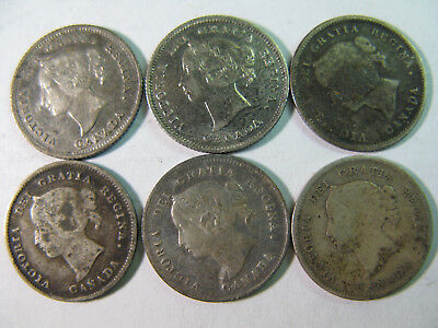 Canada, Circulated Silver Five Cents Set In Used Folder, 30 Coins, Good Start !