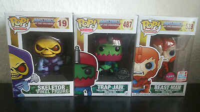 Funko Pop Masters of the Universe Vaulted Rar Skeletor,Trap Jaw & Beast Man Nycc