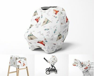 Stretchy Multi Use Car Seat Canopy, Teepee Fox Nursing Breastfeeding Cover