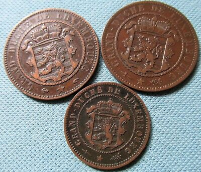 Lot of 3 1800s Luxembourg 5 & 10 Centimes Old Bronze Coins 1870 1854 1855