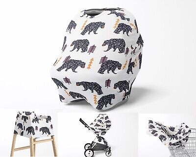Stretchy Multi Use Cover, Car Seat Canopy, Nursing Breastfeeding Cover, Bears
