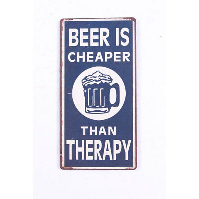 Kühlschrankmagnet - Beer is cheaper than therapy - blauer Magnet im Antik Look