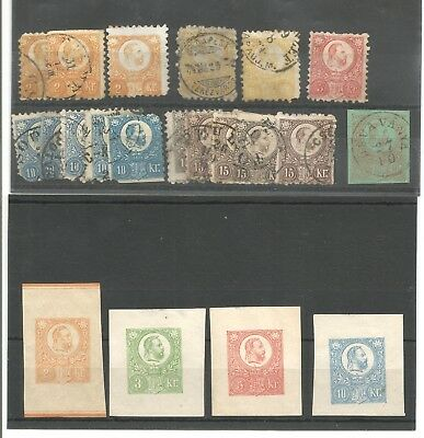Range of 1871 Hungary stamps on 2 pages inc imperfs, pmks etc. Starts 99p!!