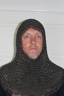 Reenactment, LARP, Living History, Medieval padded hood and chain mail coif
