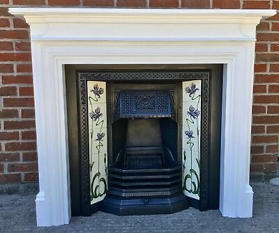 Lovely Victorian Style Tiled Cast Iron Fireplace & Painted Wooden Surround