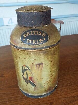 Antique Hand Painted Toleware Tea Canister with Lid / Woodpecker