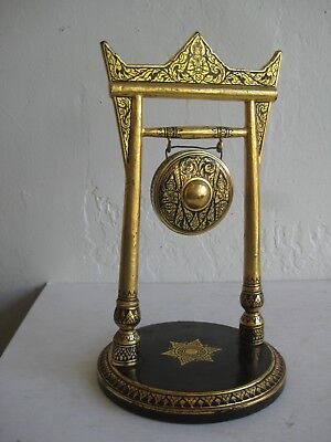 Fine Old Thai Burmese Buddhist Temple Shrine Wood & Metal Gold Gilt Gong Burma