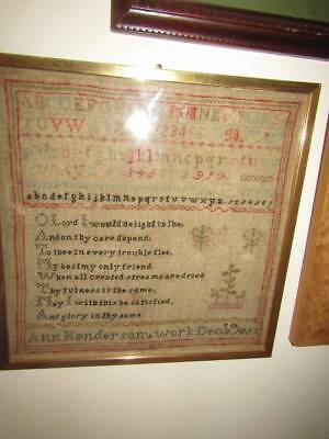 Antique Sampler Dated 1852 Ann Henderson