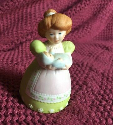 "Avon A MOTHER'S LOVE PORCELAIN BELL 1988 3 1/2"" Adorable Woman Bell"
