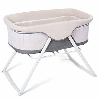 Baby Bassinet, Lightweight Rocking Crib with Detachable & Washable Mattress, Bre