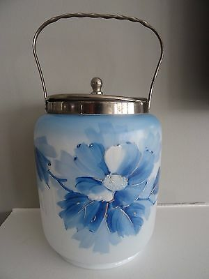 Antique Milk Glass Hand Painted Metal Handled Enameled BISCUIT JAR Blue Flower