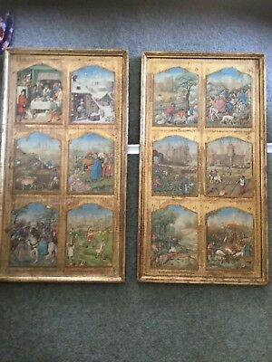Vintage Wooden Inlaid Panelled Pictures