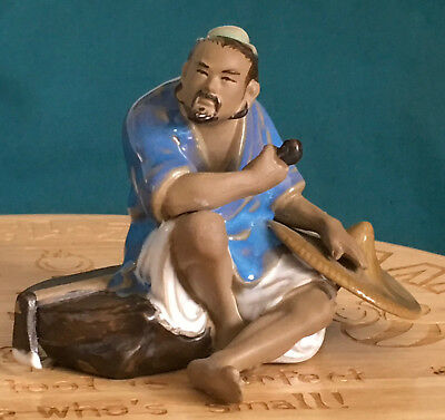 A Superb Chinese Shiwan Glazed Pottery Ancient Farmer Holding Pipe Statue