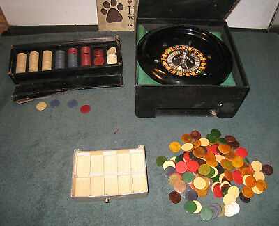 AP Games VINTAGE Roulette Wheel Bakelite + LOTS of Bakelite Swirl Poker Chips +