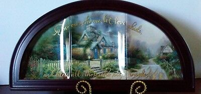 """Thomas Kinkade """"Blessings of Home"""" Framed 3 Piece Plate Set """"Tea Cup Cottage"""""""