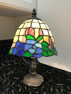 """Vintage style blue floral 13""""stained glass lamp"""