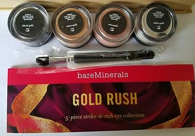 ae3ad859fbf8e5 Bare Escentuals bareMinerals GOLD RUSH Collection Set 4pc Eye Color w  brush