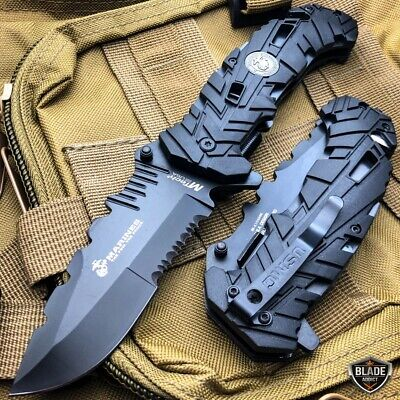 "9"" M-TECH USMC MARINES Assisted Spring Open Tactical Rescue Folding POCKET KNIFE"