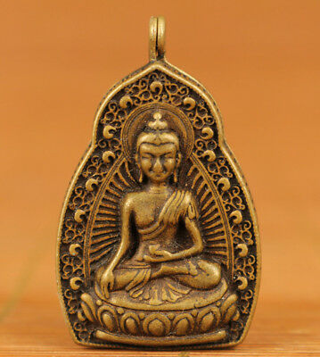 chinese Blessing old bronze hand carving buddha statue pendant noble gift