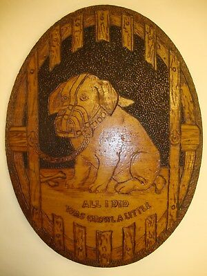 Antique Flemish Art Pyrography Wall Hanging Wood Plaque of Puppy Dog
