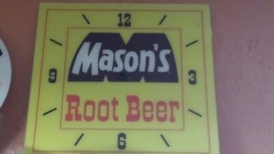 """*new* 15"""" Square Mason's Root Beer Soda Glass Face Pam Clock"""