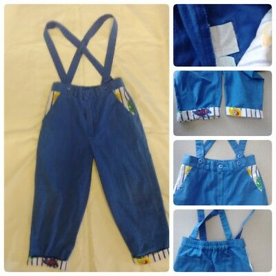 Vtg Hush Puppies Boys Suspender Pants Blue Baseball Toddler 4T 1980S