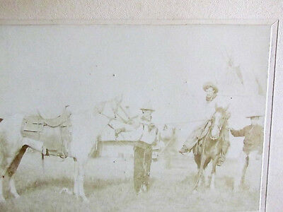 1890's Buffalo Bill WIld West Show cowboys by tents & teepee's cabinet photo