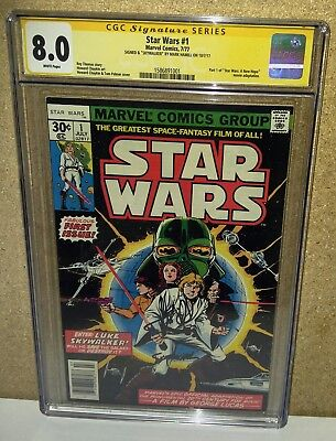 """CGC 8.0 SS Mark Hamill signed Inscribed """"Skywalker"""" Star Wars 1 White Pages 1977"""