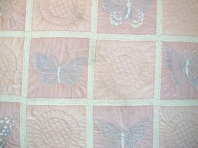 Vintage All Cotton Hand Embroidered & Quilted BUTTERFLY Quilt, FULL