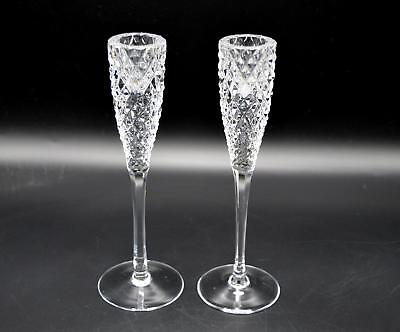 Pair of 2 Beautiful Diamond Point Pattern Crystal Candlestick Holders