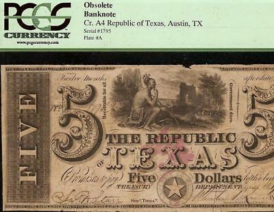 1839 $5 DOLLAR BILL REPUBLIC of TEXAS RISING CURRENCY NOTE MONEY AUSTIN PCGS VF