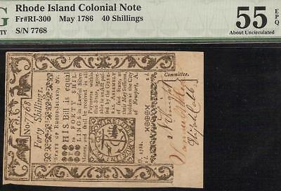 MAY 1786 RHODE ISLAND COLONIAL CURRENCY NOTE PAPER MONEY Fr # RI-300 PMG 55 EPQ