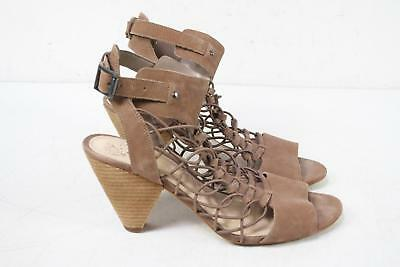 2917a3a615d Vince Camuto Eliaz Brown Leather Peep Toe Heel Women s Strappy Sandals Size  9.5M
