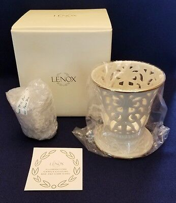 "Brand New in Box Vintage 4.5"" Lenox Votive Candle Holder, White/Gold, Versailles"
