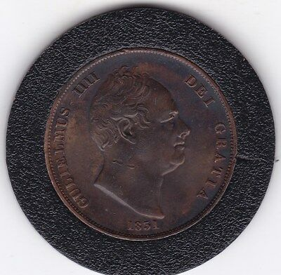 Very  Sharp   Large  1831  King  William  IV  Penny  (1d) Large  Copper  Coin