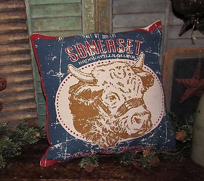 "Primitive Antique Vtg Style DAIRY FARM COW FEED SACK 16"" PILLOW Mother Day Gift"