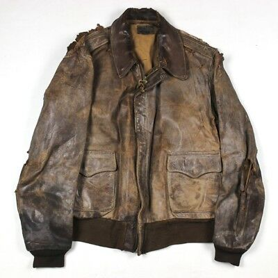 Wwii Us Army Air Forces Usaaf Pilot Leather Flight Jacket Type A-2 A2 Large