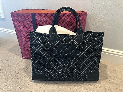 6d4452a61 NEW TORY BURCH Ella Quilted Tote Bag, Color Black/white - $93.00 ...