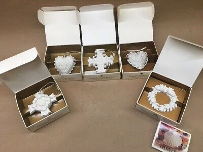"""L@@K"" LOT of 5 N.I.B. Margaret Furlong 1996, 97, 98, 99 Ornaments 2 3/4 in. NR"