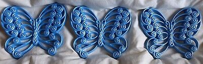 Vintage 3 Burwood Products Blue Butterflies Wall Plaques Decor #2146 Retro 70's
